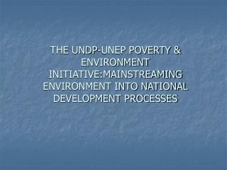 UNDP-UNEP POVERTY & ENVIRONMENT INITIATIVE (PEI)