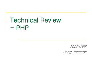 Technical Review - PHP