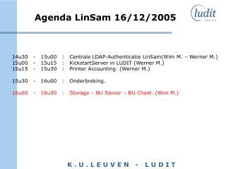 Agenda LinSam 16/12/2005