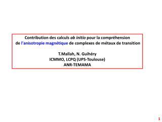 Contribution des calculs  ab initio  pour la compréhension