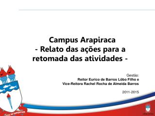 Campus Arapiraca - Relato das ações para a retomada das atividades -