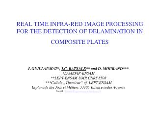 REAL TIME INFRA-RED IMAGE PROCESSING FOR THE DETECTION OF DELAMINATION IN COMPOSITE PLATES