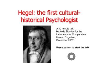 Hegel: the first cultural-historical Psychologist
