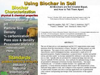 Biochar Characterization