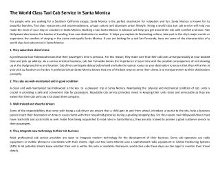 The World Class Taxi Cab Service in Santa Monica