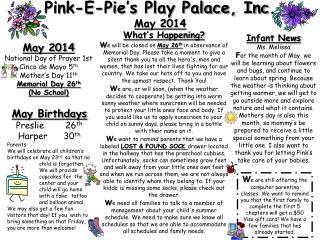 Pink-E-Pie's Play Palace, Inc.  May 2014