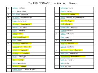 The AUGUSTAN AGE: