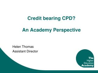 Credit bearing CPD?  An Academy Perspective