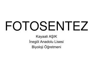 FOTOSENTEZ Kayaali AŞIK İnegöl Anadolu Lisesi Biyoloji Öğretmeni