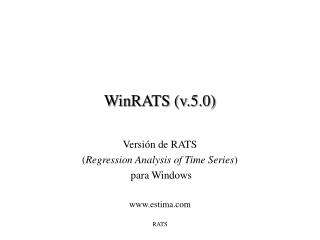 WinRATS (v.5.0)