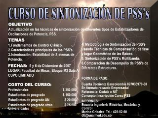 CURSO DE SINTONIZACIÓN DE PSS's
