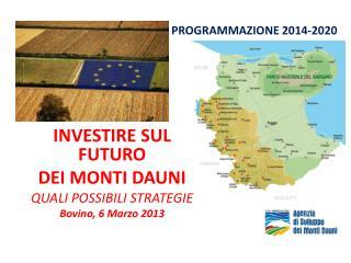 INVESTIRE SUL FUTURO  DEI MONTI DAUNI QUALI POSSIBILI STRATEGIE Bovino, 6 Marzo 2013