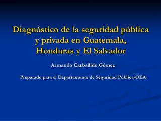 Diagn stico de la seguridad p blica y privada en Guatemala, Honduras y El Salvador