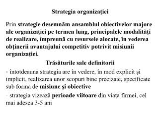 Strategia organizaţiei