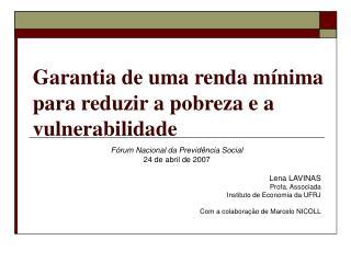 Garantia de uma renda mínima para reduzir a pobreza e a vulnerabilidade