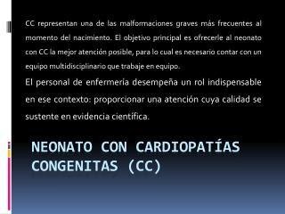 Neonato con cardiopat as congenitas CC