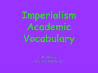 Imperialism Academic Vocabulary