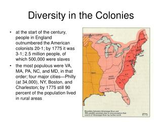 Diversity in the Colonies
