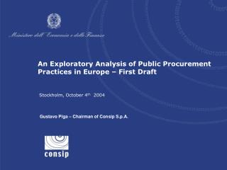An Exploratory Analysis of Public Procurement Practices in Europe – First Draft