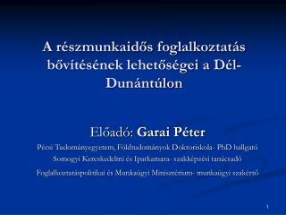 A részmunkaidős foglalkoztatás bővítésének lehetőségei a Dél-Dunántúlon