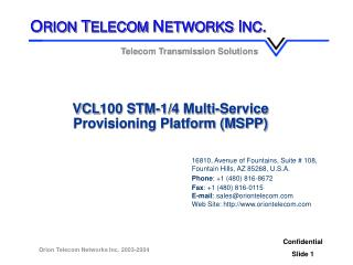 VCL100 STM-1/4 Multi-Service  Provisioning Platform (MSPP)