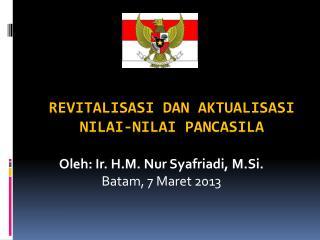 Revitalisasi dan Aktualisasi Nilai-Nilai Pancasila