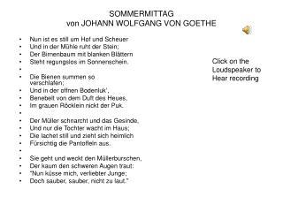 SOMMERMITTAG  von JOHANN WOLFGANG VON�GOETHE