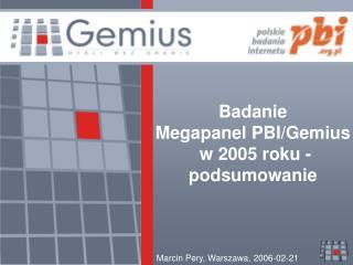 Badanie  Megapanel PBI/Gemius  w 2005 roku - podsumowanie