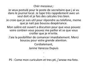 Ch�r messieur ,: