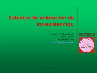 Sistemas de valoración de las existencias.