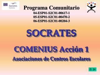 SOCRATES COMENIUS Acción 1 Asociaciones de Centros Escolares