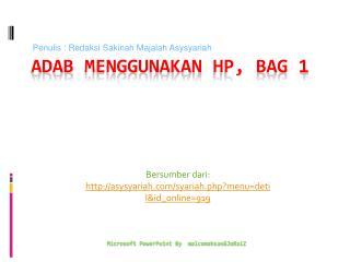 Adab Menggunakan  HP, bag 1