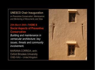 UNESCO Chair Inauguration