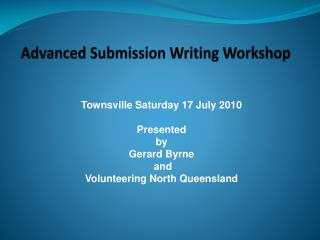 Advanced Submission Writing Workshop