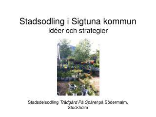 Stadsodling i Sigtuna kommun Idéer och strategier