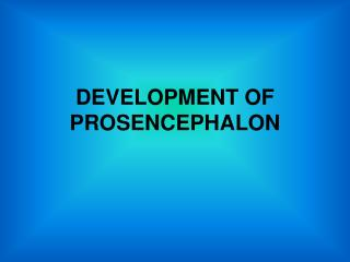 DEVELOPMENT OF PROSENCEPHALON
