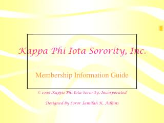Kappa Phi Iota Sorority, Inc.