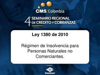 Ley 1380 de 2010 Régimen de Insolvencia para Personas Naturales no Comerciantes.