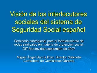 Visión de los interlocutores sociales del sistema de Seguridad Social español