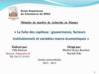 Mémoire  de  mastère  de  recherche  en  Finance