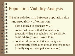 Population Viability Analysis