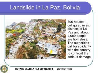 Landslide in La Paz, Bolivia