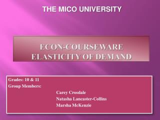 Econ-Courseware elasticity of demand