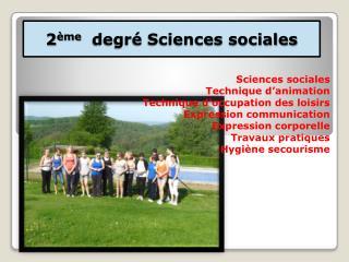 2 ème   degré Sciences sociales