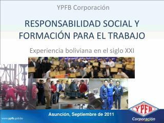 RESPONSABILIDAD SOCIAL Y FORMACIÓN PARA EL TRABAJO