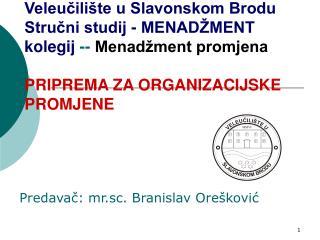 Predavač: mr.sc. Branislav Orešković