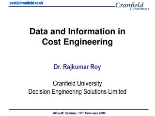 Data and Information in  Cost Engineering