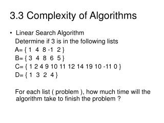 3.3 Complexity of Algorithms