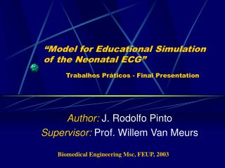 """Model for Educational Simulation of the Neonatal ECG"" Trabalhos Práticos - Final Presentation"