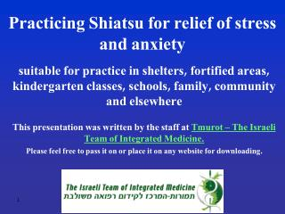 Practicing Shiatsu for relief of stress and anxiety